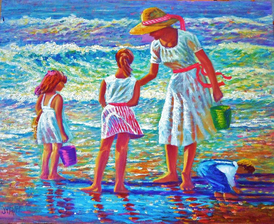 Sunday Afternoon At The Beach Painting by Joseph   Ruff