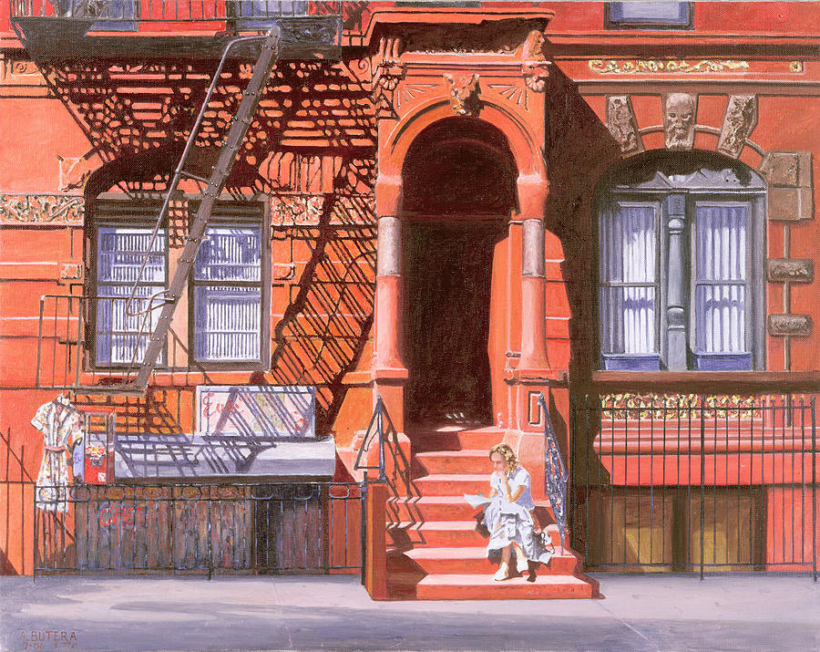 Brownstone Painting - Sunday Afternoon East 7th Street Lower East Side Nyc by Anthony Butera