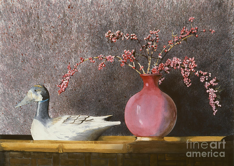 A Wood Carved Duck Rest On A Wicker Coffee Table Near A Hand-thrown Pot Filled With Buck Brush In The Sunlight Of A Sunday Afternoon.  Painting - Sunday Afternoon by Monte Toon