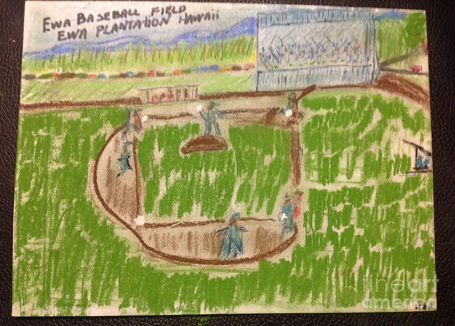Hawaiian Folk Art Painting - Sunday Baseball Ewa Plantation by Willard Hashimoto