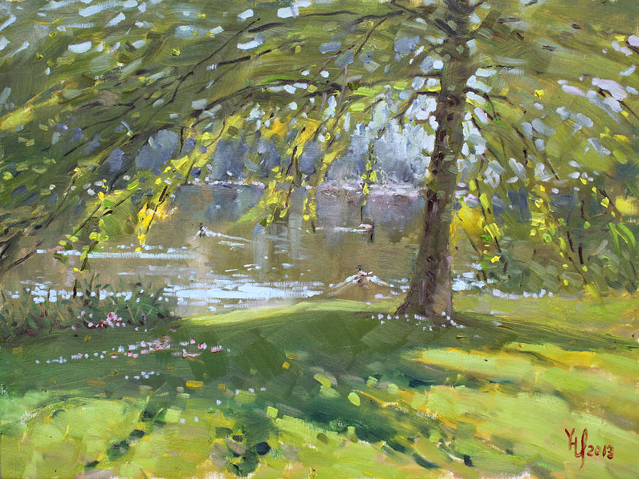 Credit Port On Painting - Sunday By The Pond In Port Credit Mississauga by Ylli Haruni