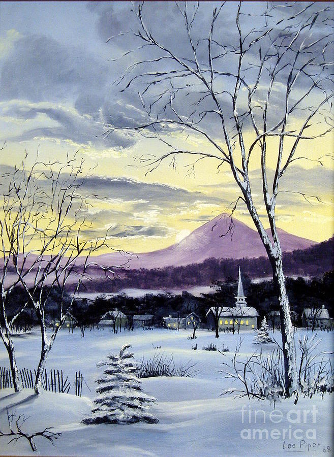Maine Painting - Sunday In Winter by Lee Piper