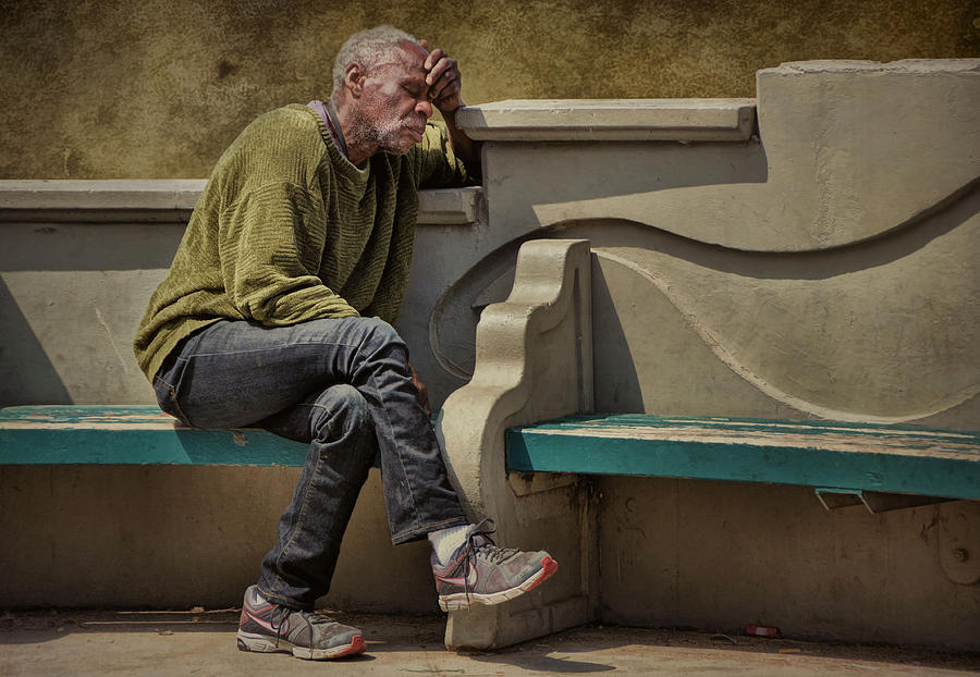 Homeless Photograph - Sunday Morning Worries .... by Bob Kramer