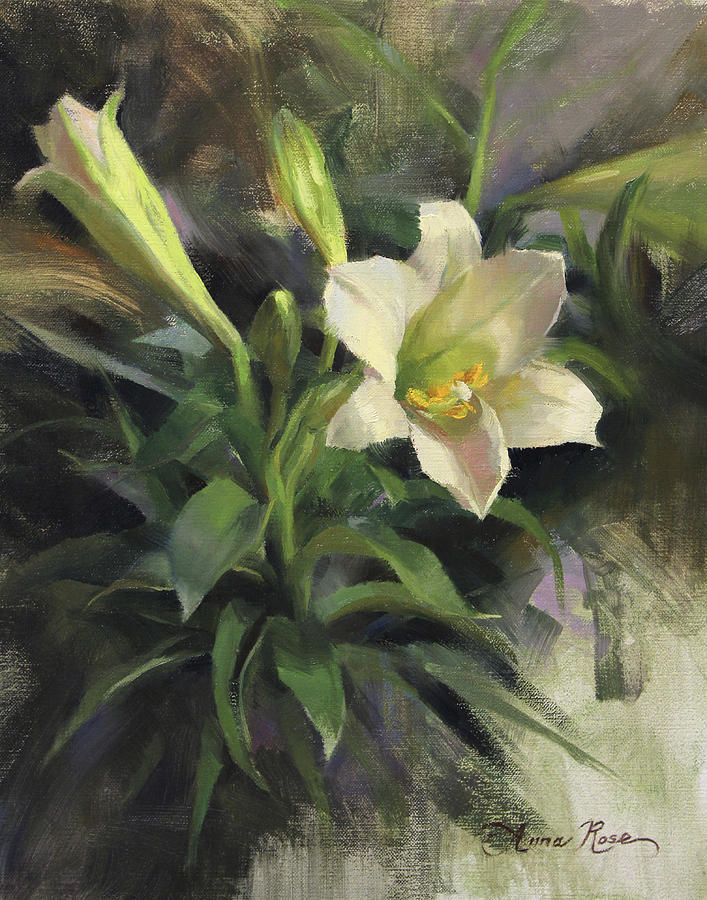 Easter Painting - Sundays Lily by Anna Bain