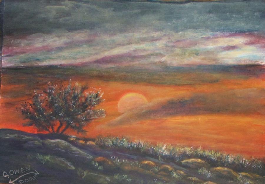 Landscape Painting - Sundown In Vail Az by Caroline Owen-Doar