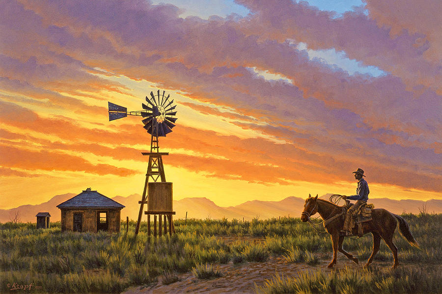 Landscape Painting - Sundowner by Paul Krapf