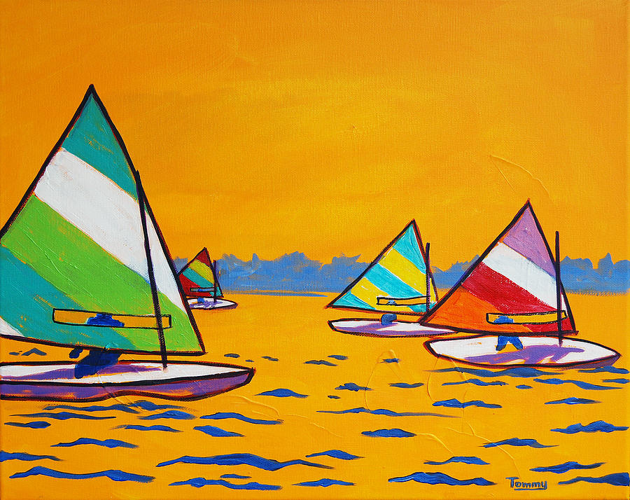 Sunfish Sailboat Race Painting by Tommy Midyette