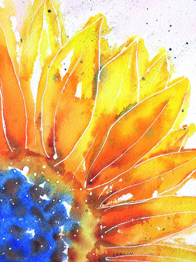 Sunflower Blue Orange And Yellow Painting By Carlinart