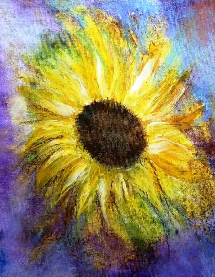 Blue Painting - Sunflower by Carol Rowland