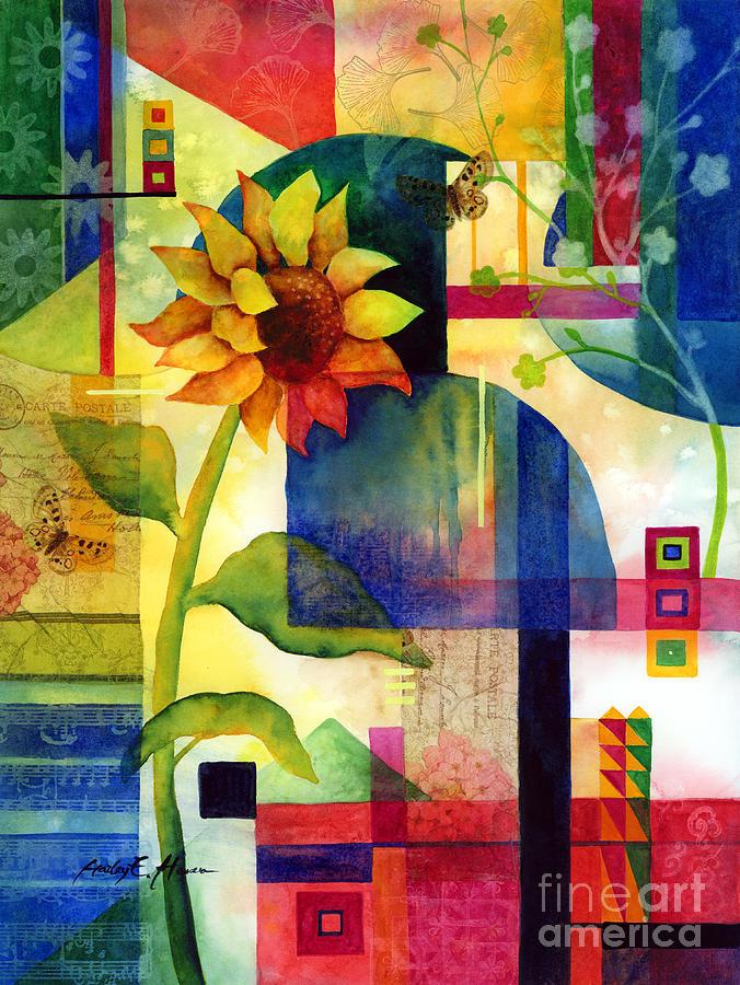Sunflower Painting - Sunflower Collage by Hailey E Herrera
