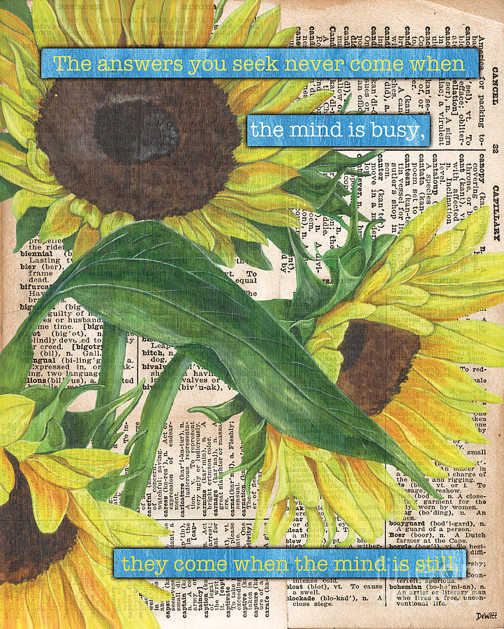 Floral Painting - Sunflower Dictionary 1 by Debbie DeWitt