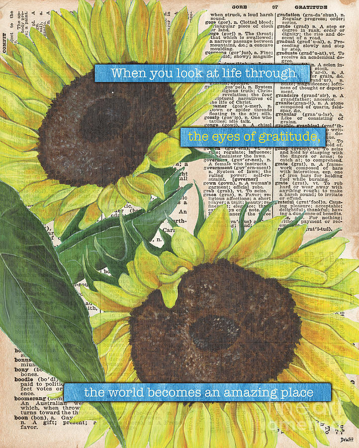 Floral Painting - Sunflower Dictionary 2 by Debbie DeWitt