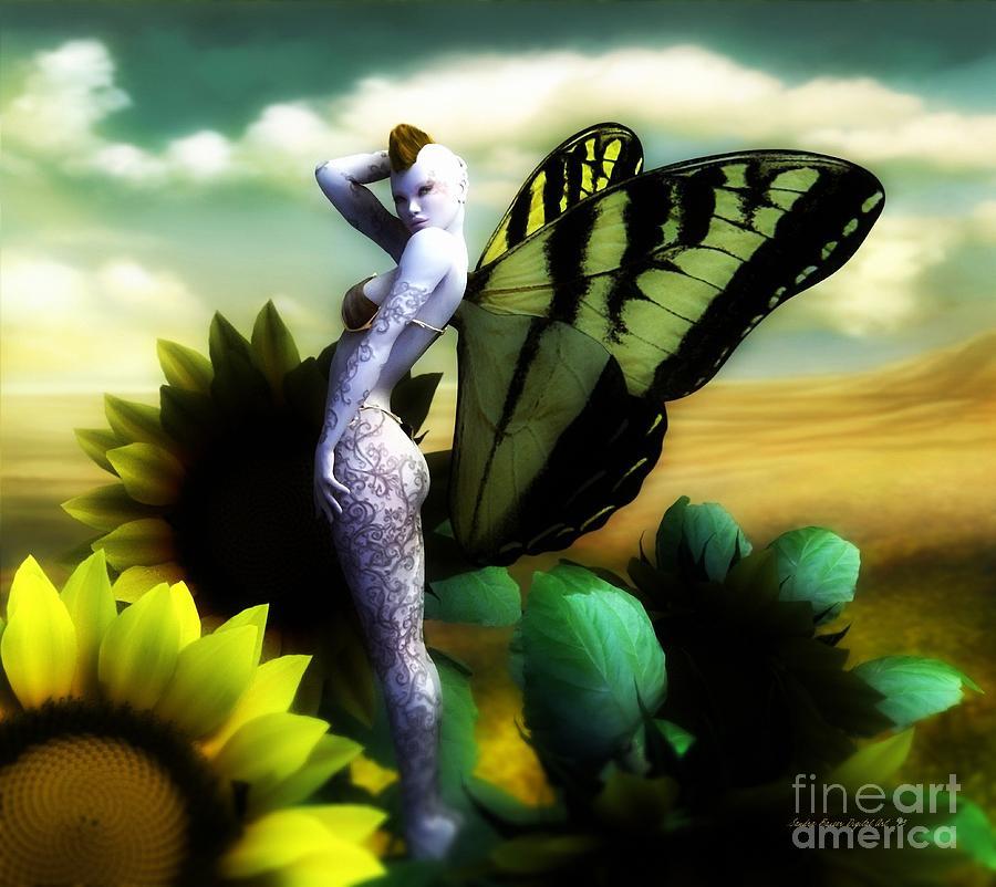 Sunflower Digital Art - Sunflower Fairy by Sandra Bauser Digital Art