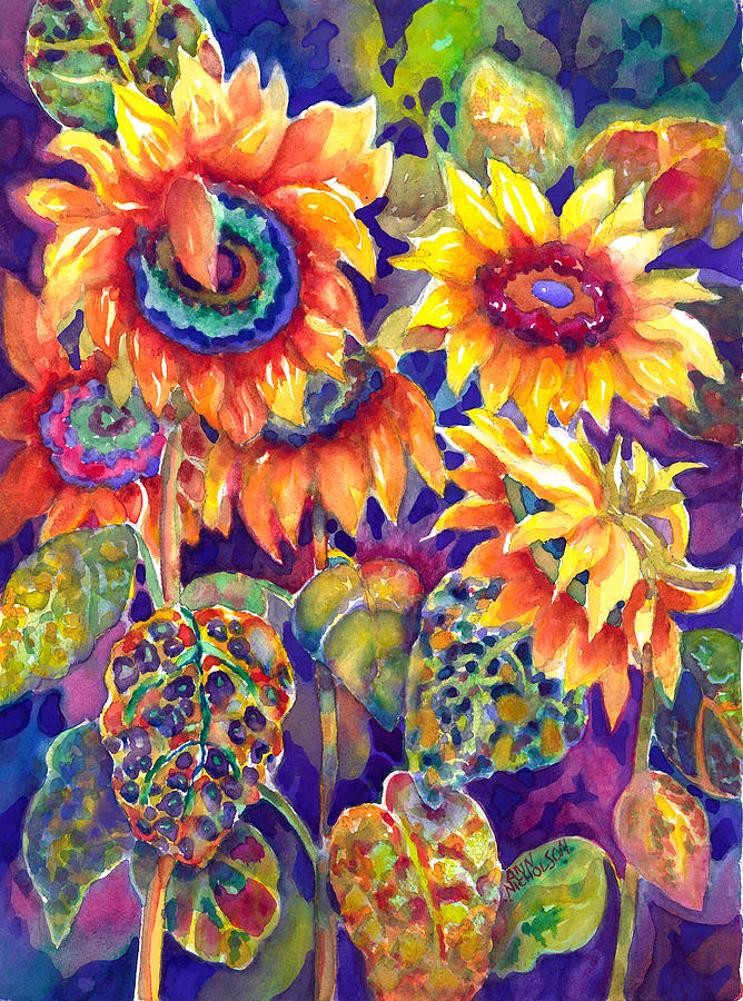 Sunflowers Painting - Sunflower Garden by Ann  Nicholson