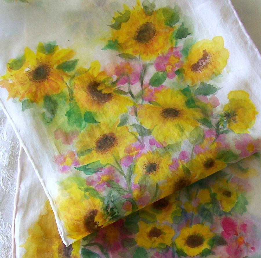 Sunflower Garden Design On Silk Painting By Shan Ungar