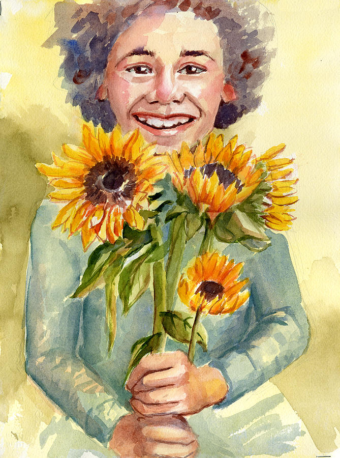 Happy Painting - Sunflower Girl by Gail Ishmael