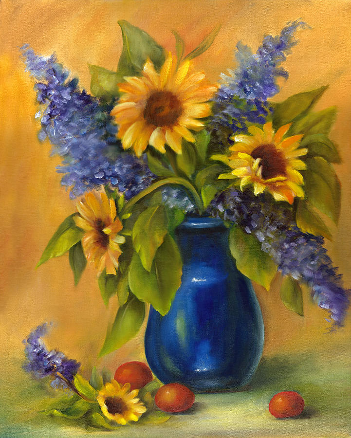 Sunflower In Blue Vase Painting By Sharron White