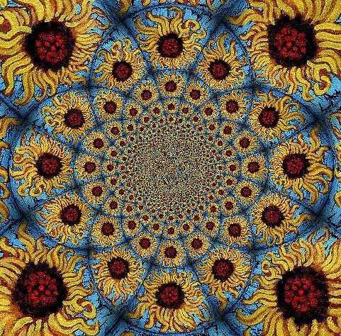 Sunflower Kaleidoscope Mandela Painting - Sunflower Kaleidoscope Mandela by Genevieve Esson