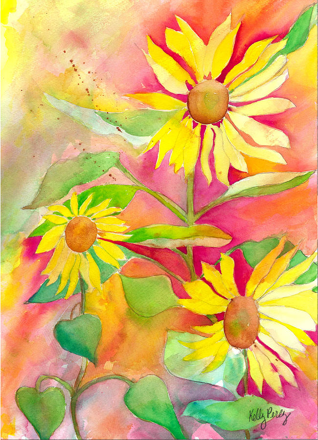 Watercolor Painting Painting - Sunflower by Kelly Perez