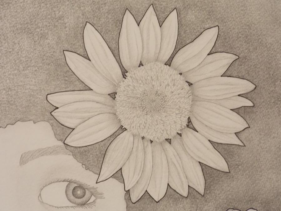 Girl Drawing - Sunflower Peeping Eye by Aaron El-Amin