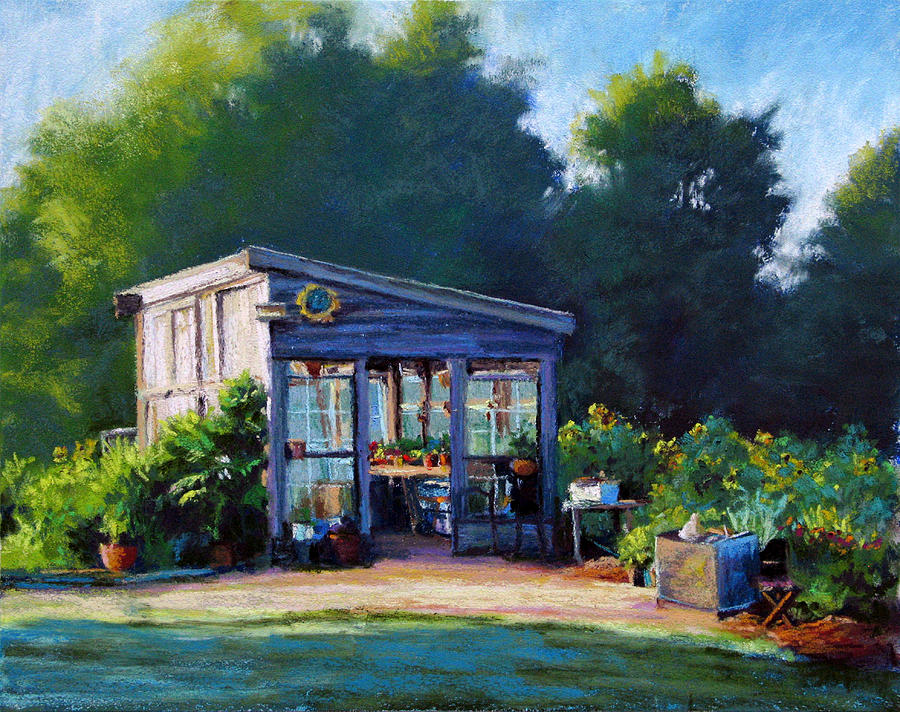 Sunflowers Painting - Sunflower Potting Shed by Marsha Savage