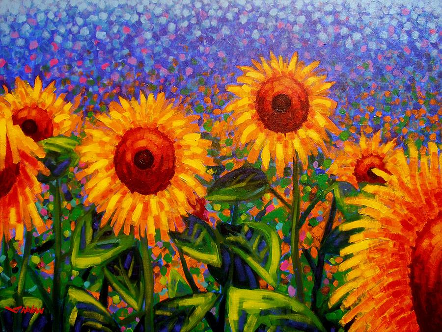 Irish Painting - Sunflower Scape by John  Nolan