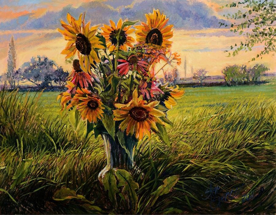 sunflower sunset painting by steve spencer