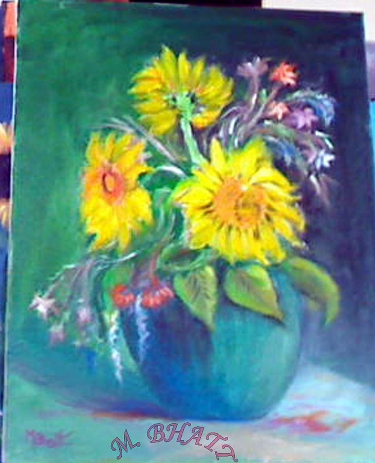 Floral Painting - Sunflower Vase by M Bhatt
