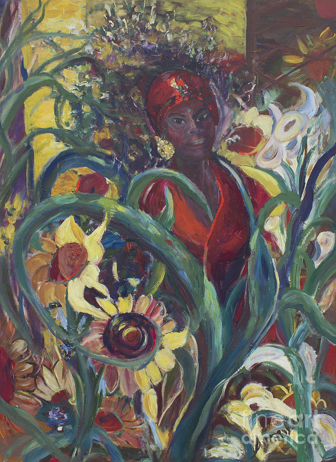 Sunflowers Painting - Sunflower Woman #1 by Avonelle Kelsey