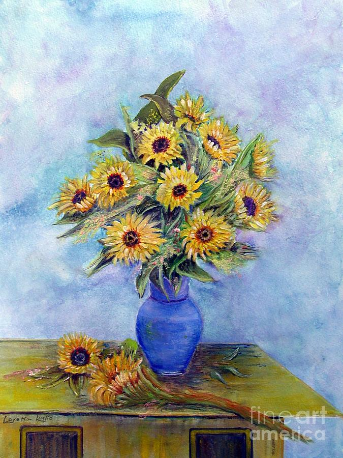 Sunflowers And Blue Vase Painting By Loretta Luglio