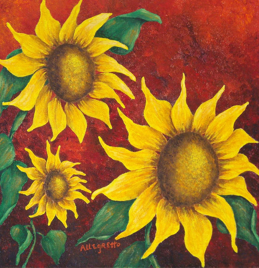 Acrylic Painting - Sunflowers At Sunset by Pamela Allegretto