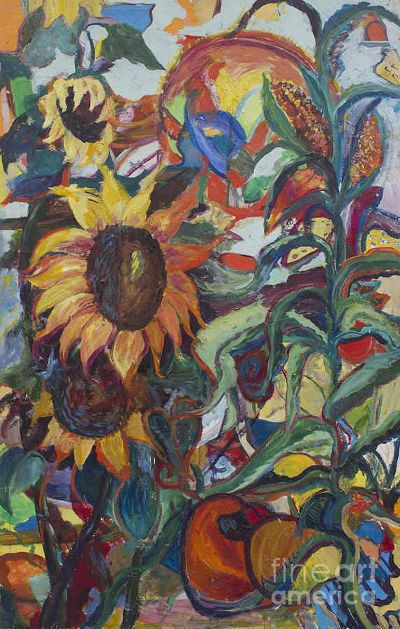 Abstract Sunflower Painting - Sunflowers by Avonelle Kelsey