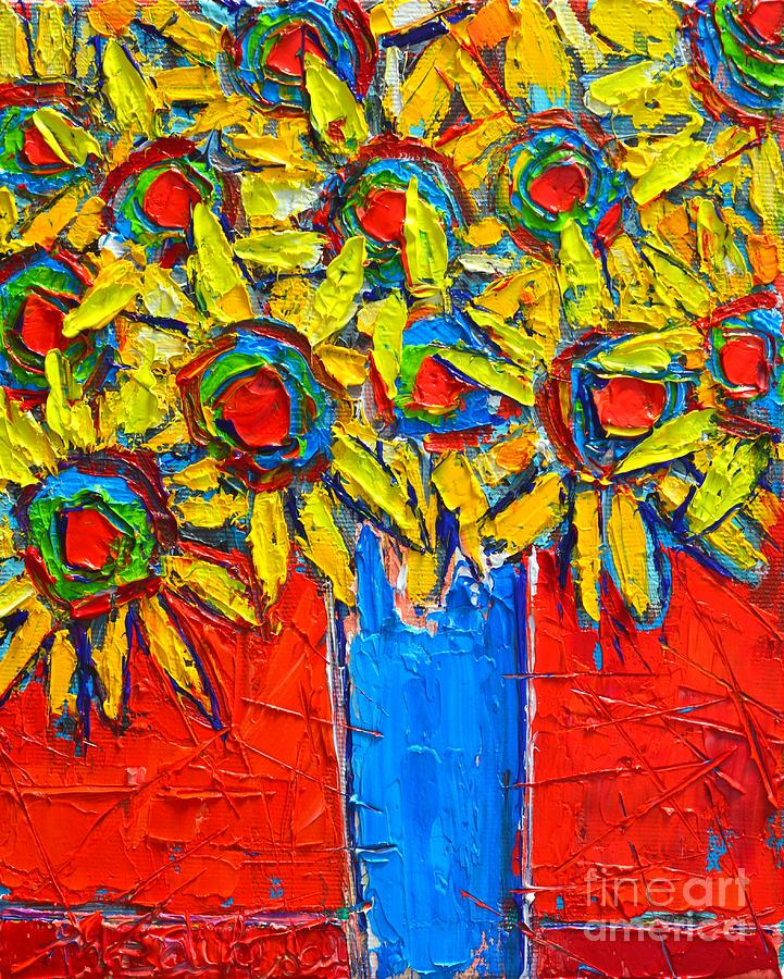 Sunflowers Painting - Sunflowers Bouquet In Blue Vase by Ana Maria Edulescu