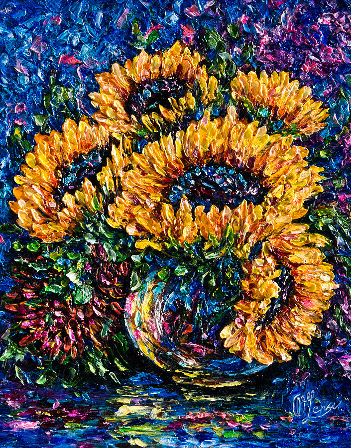 Sunflowers Bouquet In Vase Painting By Olena Art Lena Owens