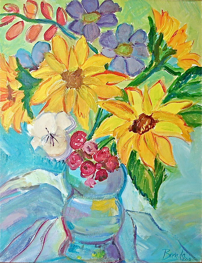Abstract Painting - Sunflowers by Brenda Ruark