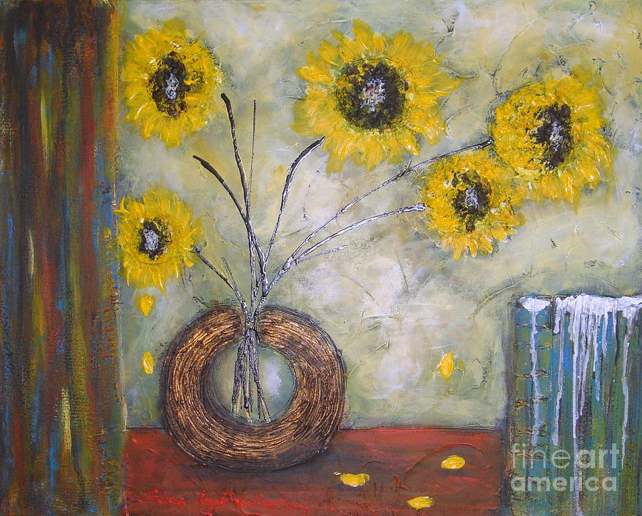 Sunflower Painting - Sunflowers by Elena  Constantinescu