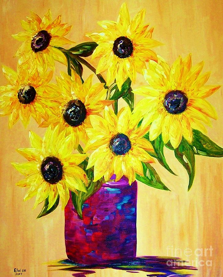 Sunflower Painting - Sunflowers In A Red Pot by Eloise Schneider