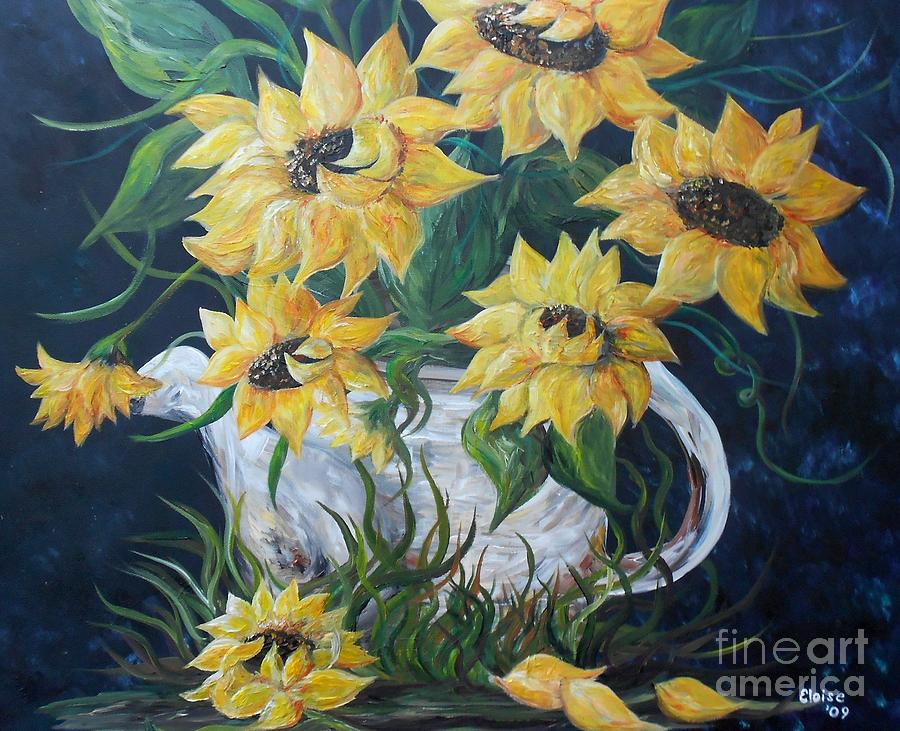 Sun Painting - Sunflowers In An Antique Country Pot by Eloise Schneider