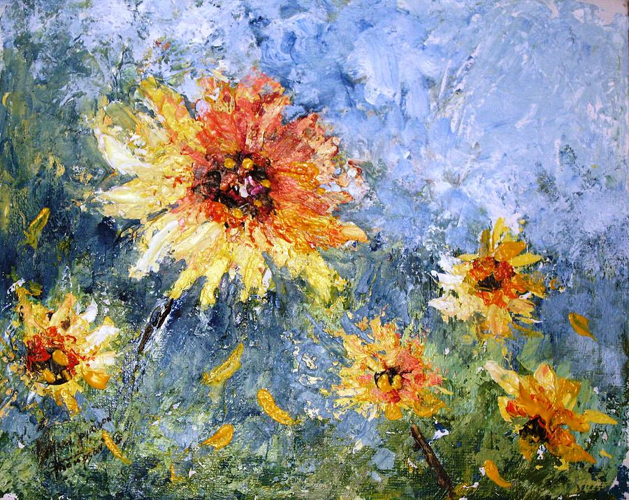 Sunflowers Painting - Sunflowers In Bloom by Mary Spyridon Thompson
