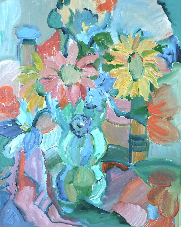 Abstract Painting - Sunflowers In Blue Vase by Brenda Ruark
