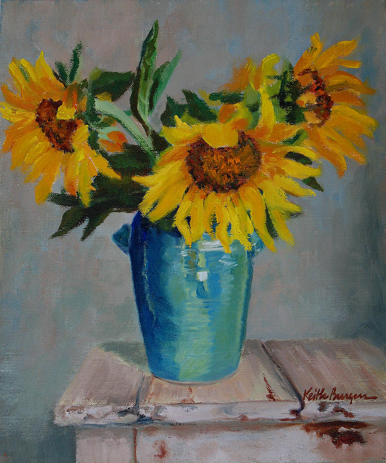 Sunflowers In Blue Vase Painting By Keith Burgess