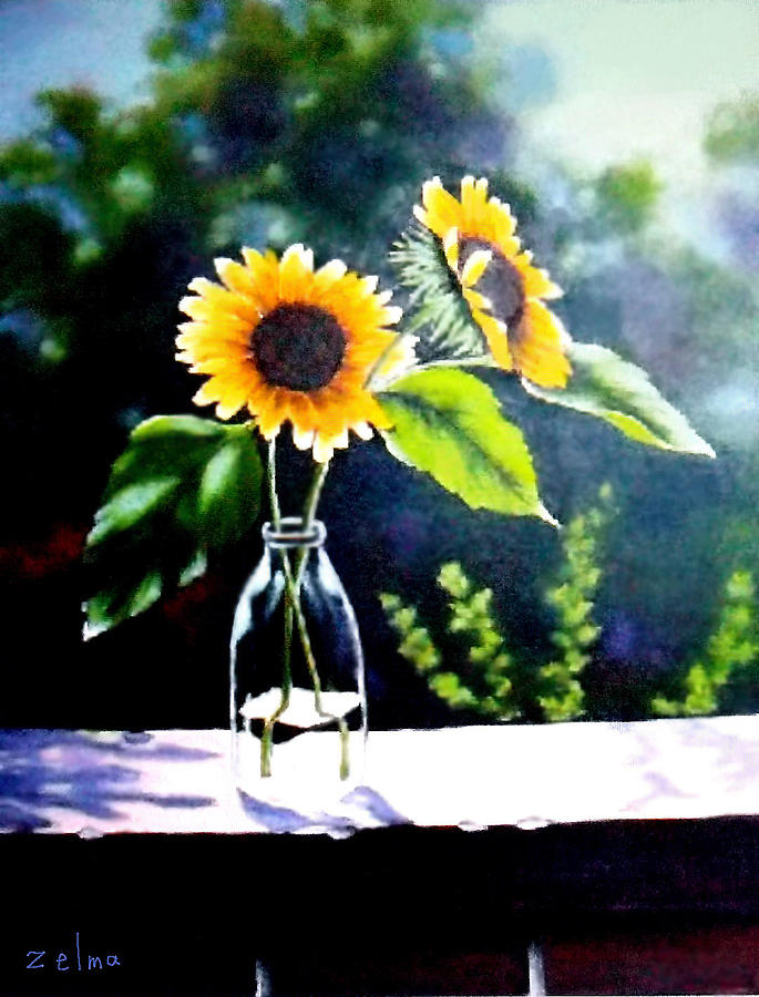 Sunflowers In Clear Vase Painting By Zelma Hensel