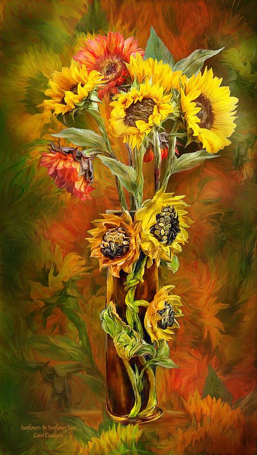 Sunflowers Mixed Media - Sunflowers In Sunflower Vase by Carol Cavalaris