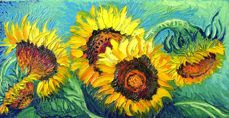 Isabelle Painting - Sunflowers by Isabelle Gervais