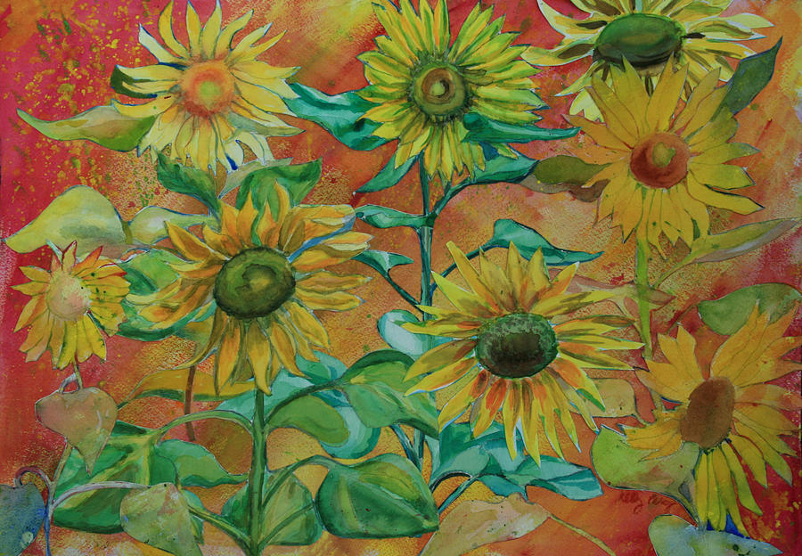 Leaves Painting - Sunflowers by Kelly Perez