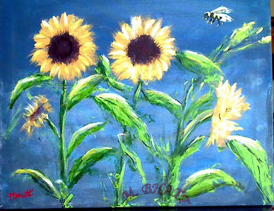 Sunflowers Painting - Sunflowers by M Bhatt