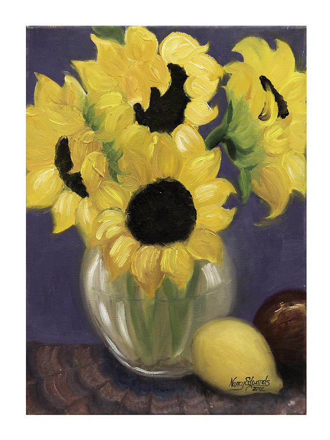 Flowers Painting - Sunflowers by Nancy Edwards