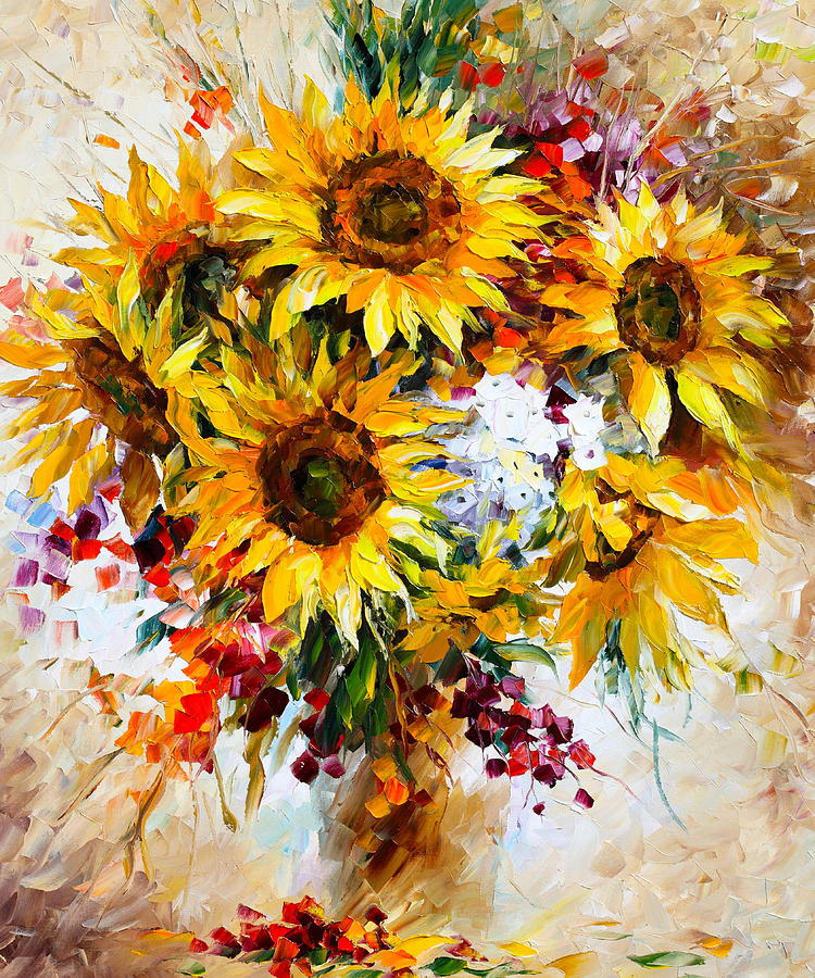 Sunflowers Of Happiness New Painting By Leonid Afremov