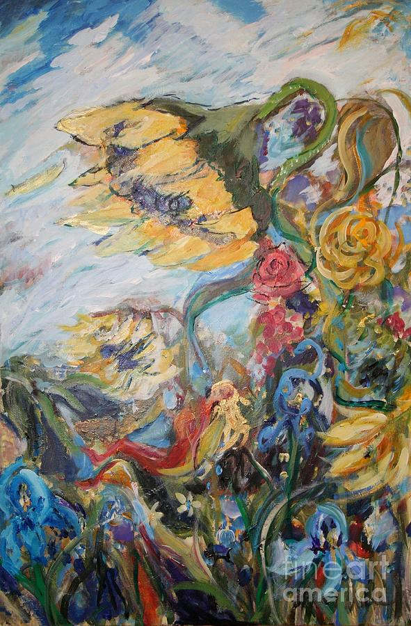 Sunflowers Painting - Sunflowers On A Windy Day by Avonelle Kelsey