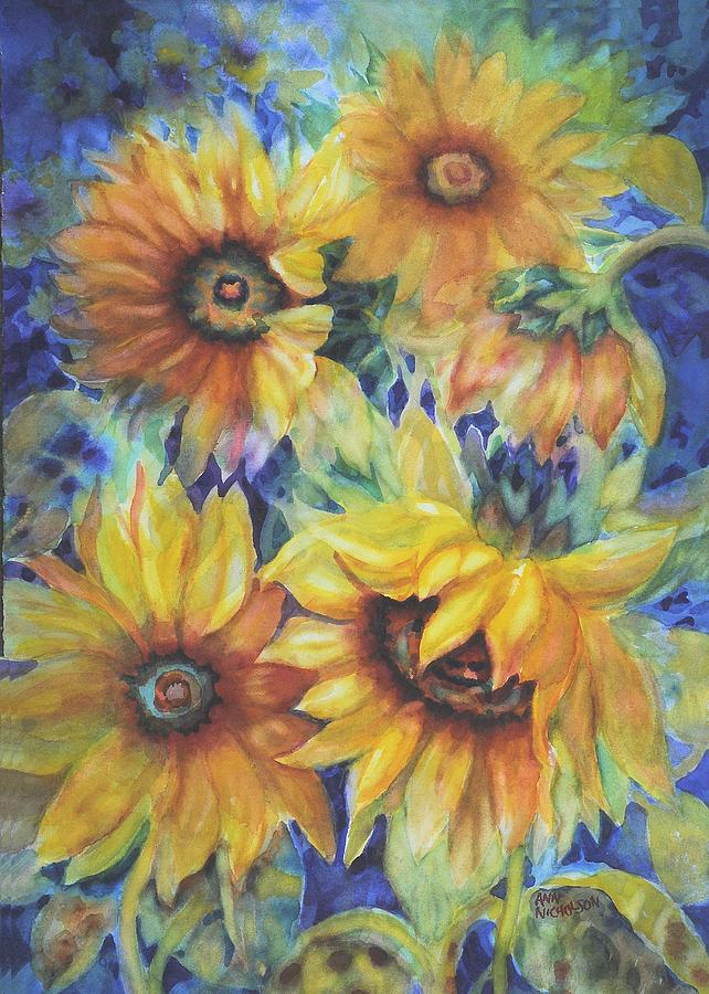 Sunflowers Painting - Sunflowers On Blue by Ann Nicholson